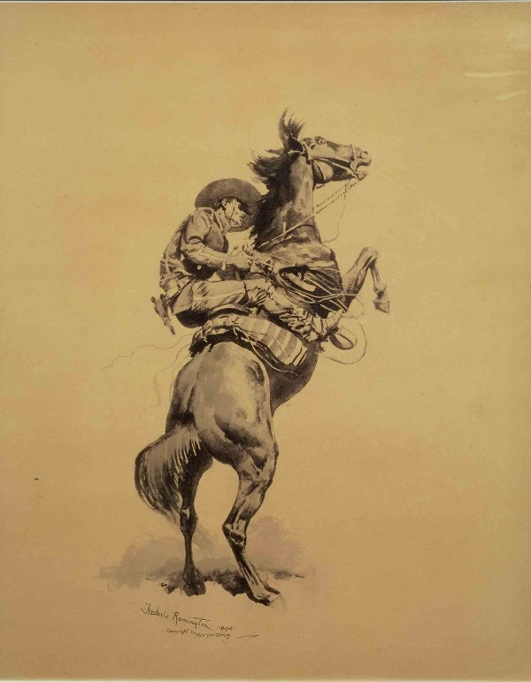 "Frederick Remington ""Mounting a Wild One""original gouche on paper"